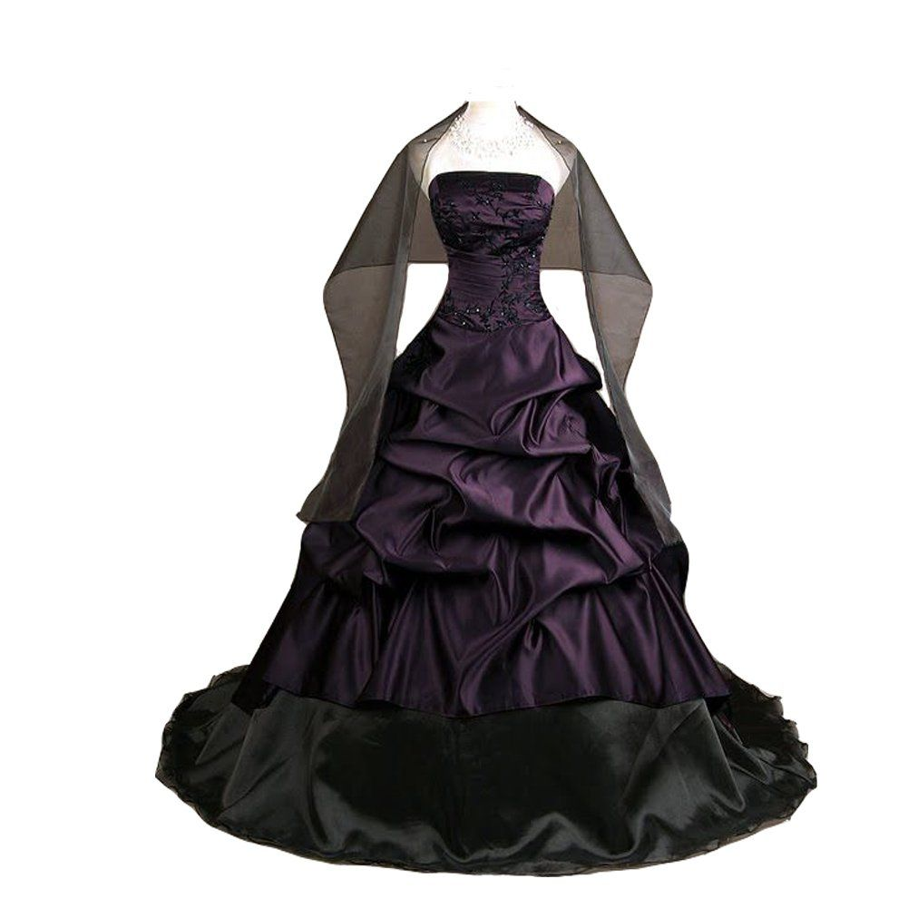 Kivary womenus strapless deep purple and black pick up a line gothic