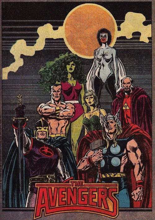 This was Walter Simonson and John Buscema's 1988 run of The Avengers. This incarnation of the team featured Thor, Captain Marvel (Monica Rambeau), Namor, She-Hulk, Black Knight and Doctor Druid.