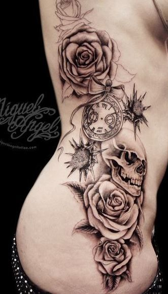 Great Roses With Skull Tattoo On Ribs Tattoos Rose Tattoos