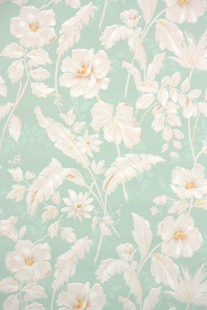 So Many Beautiful Vintage Wallpaper Patterns This Mint Green Floral Is From The 1940s Authentic Vintagewallpaper Hannahs Treasures