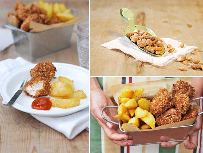 Nuggets de pollo con frutos secos a la miel, papas asadas y ketchup de curry
