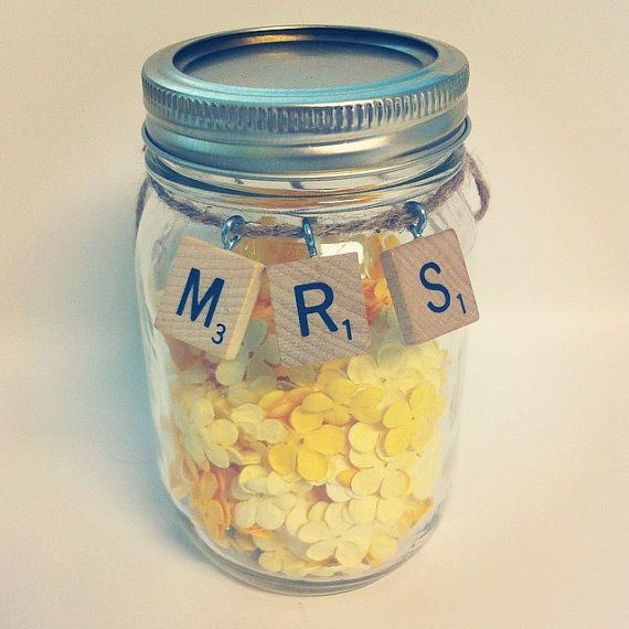 Scrabble Mason Jar Ornaments receptions by HidingPlaceBoutique