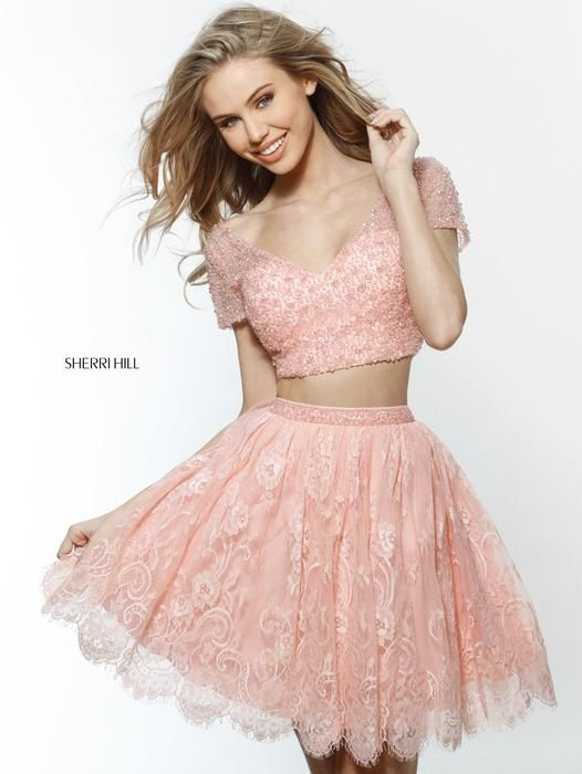 Pretty in peach! With this laced two piece dress by Sherri Hill ...