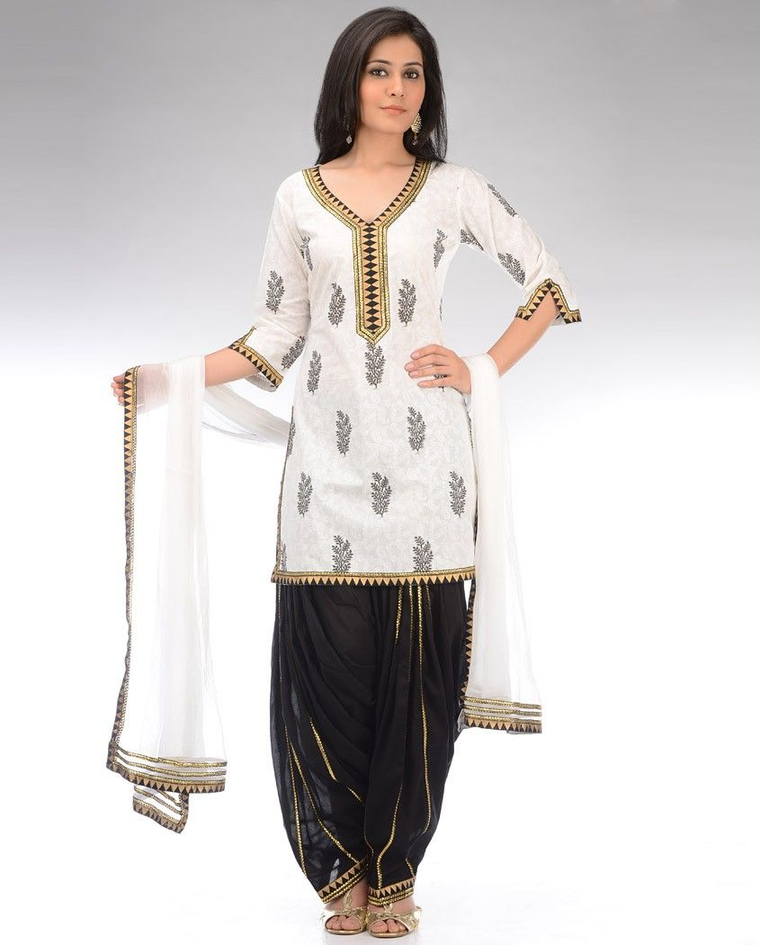 6bdcf1ea27 Snow White and Black Printed Patiala Suit   Indian Dresses, Jewelry ...