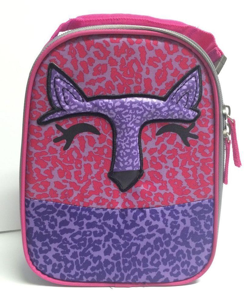 a049a8f07c55 Circo Girls Fox Insulated Lunch Bag Box Pink Purple Cheetah Print ...