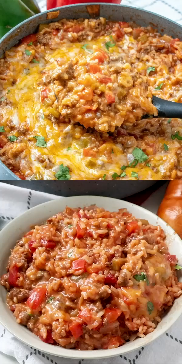Stuffed Pepper Casserole This Stuffed Pepper Casserole has all the delicious flavors of regular stuffed peppers but turned inside out and made in one pan, keeping the mess to a minimum! #dinnertime #beef #cheesy #recipe #easyrecipe #tasty #yummy #rice