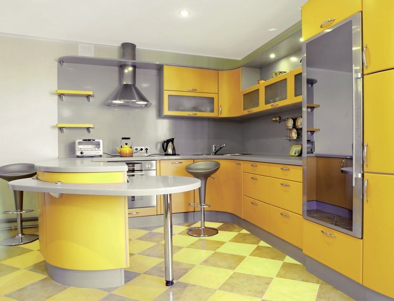 Grau Und Gelb Moderne Küche Design Idee