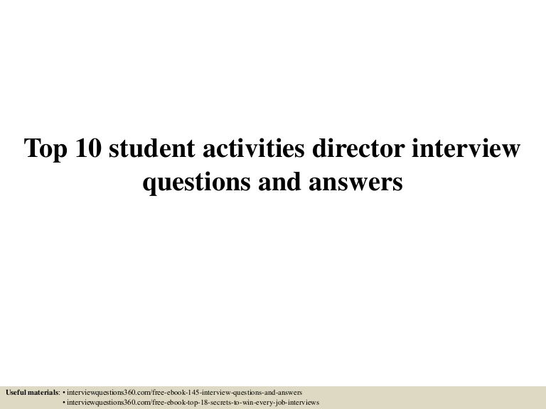 Top  Student Activities Director Interview Questions And Answers