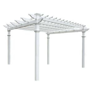 New England Arbors Regency 12 Ft X 12 Ft White Vinyl Pergola Va42055 The Home Depot Wood Pergola Vinyl Pergola Outdoor Pergola