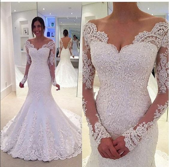 Elegant Sleeves Mermaid Lace Off-the-Shoulder Long Wedding