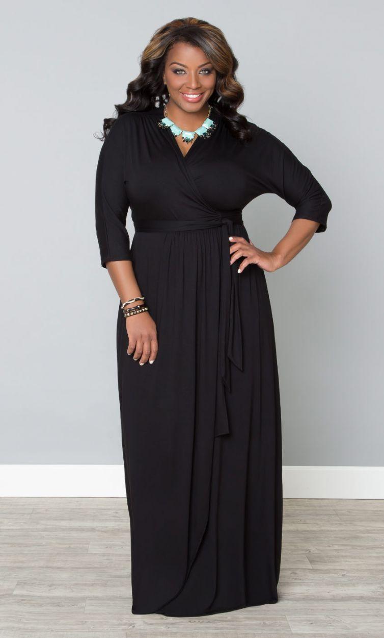 Black faux wrap dress plus size