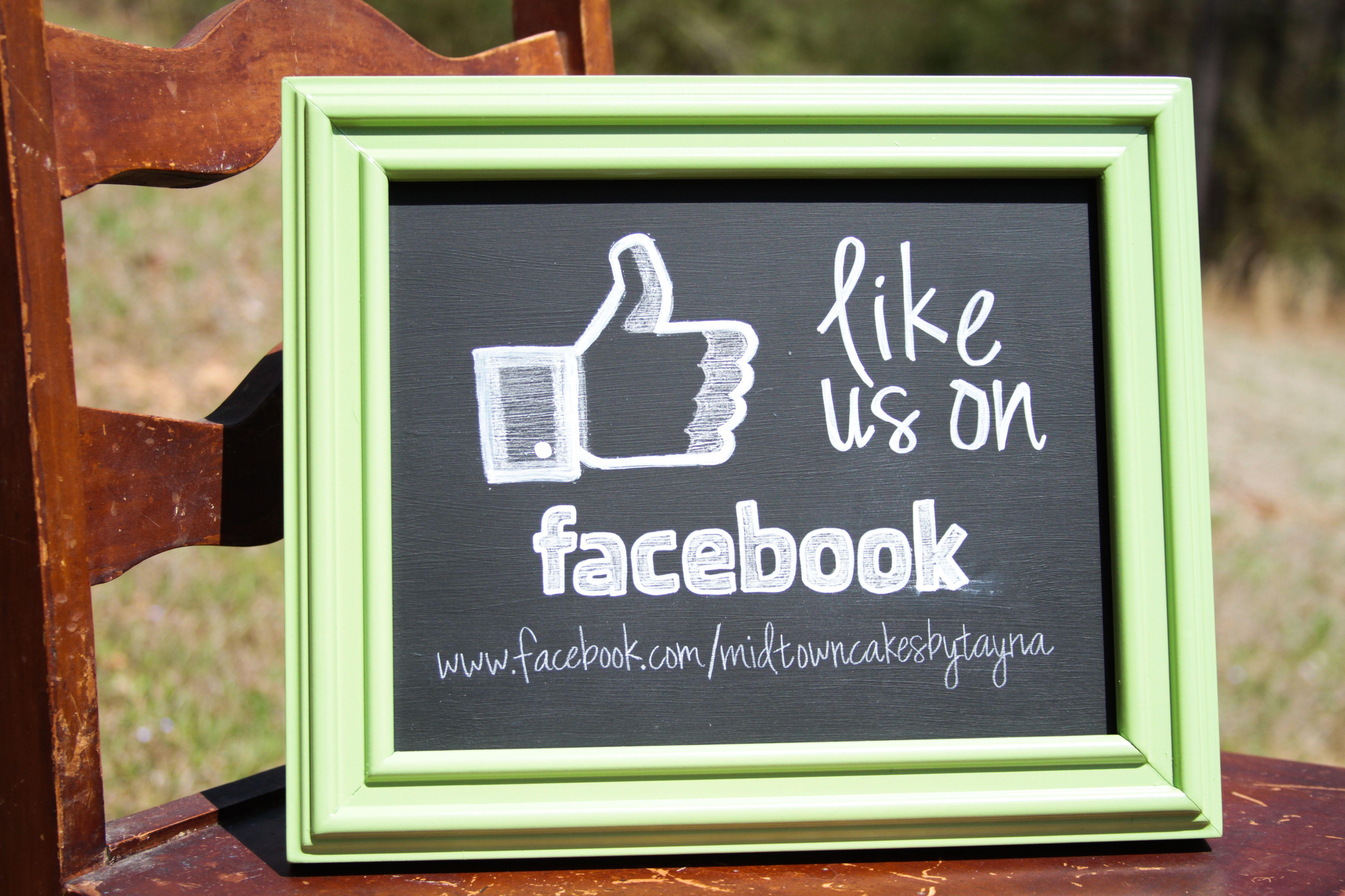 Like Us on Facebook Business Chalkboard by www.facebook
