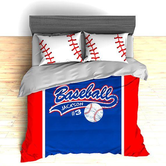 Personalized Baseball Bedding Baseball Comforter Baseball Etsy In 2020 Baseball Bed Baseball Themed Bedroom Baseball Bedroom