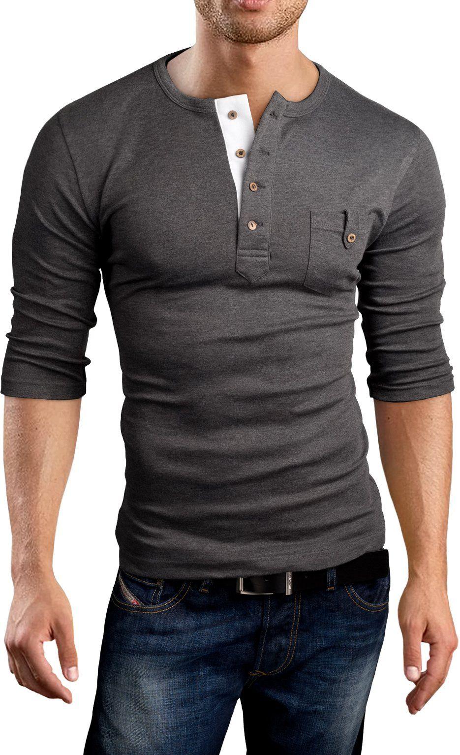 173a4256 Grin&Bear Slim Fit 3/4 Sleeve Henley Shirt T-Shirt, charcoal, M, BH108