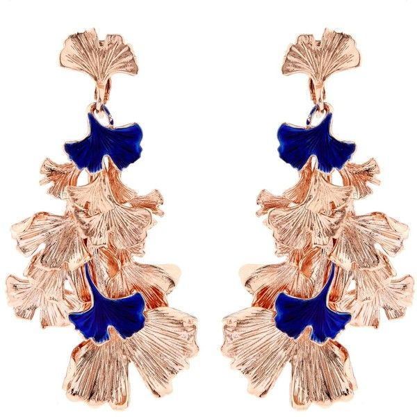 Aurélie Bidermann Ginkgo lacquered rose gold-plated clip-on earrings (€430) ❤ liked on Polyvore featuring jewelry, earrings, clip back earrings, earrings jewelry, rose gold plated jewelry, clip-on earrings and aurélie bidermann