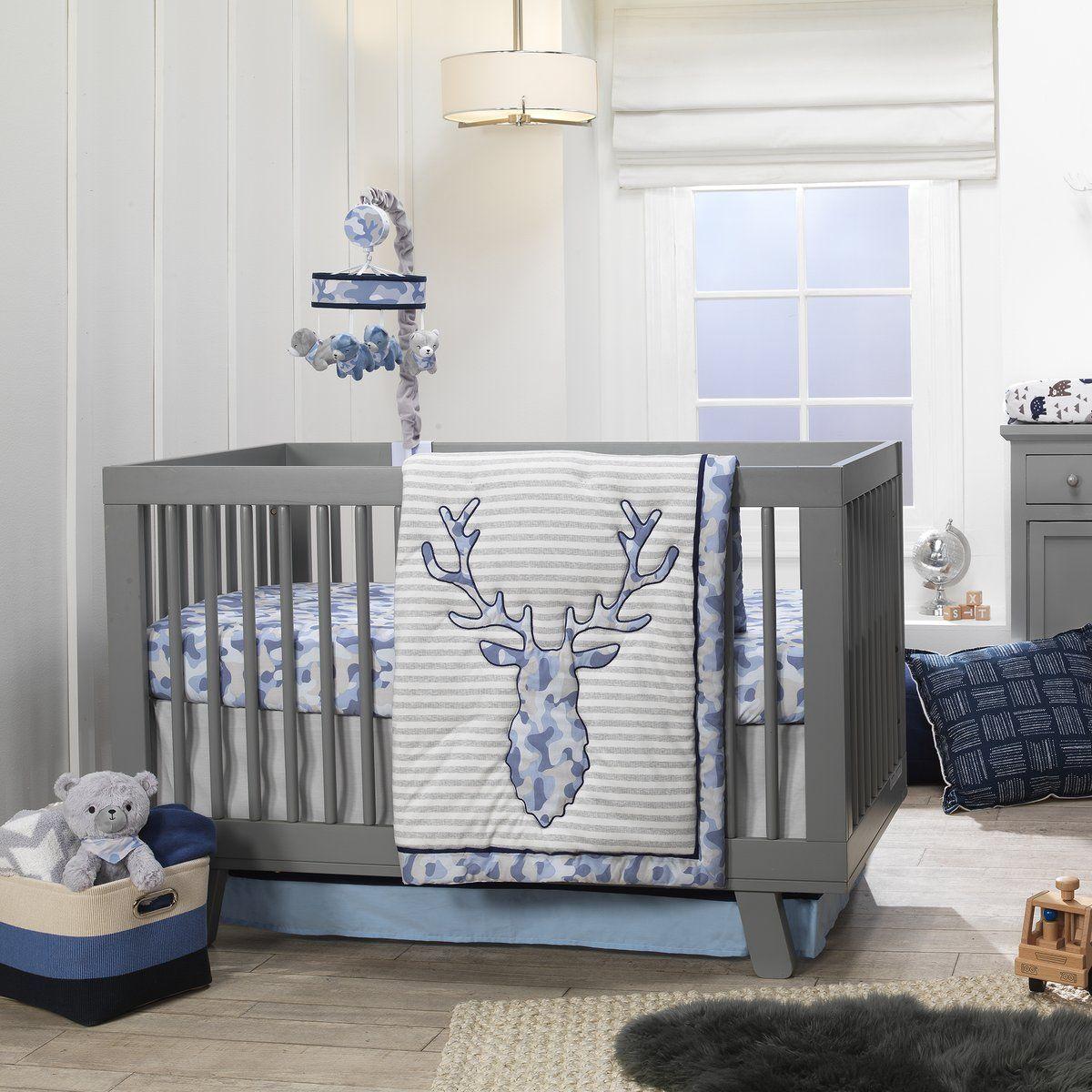 Blue Camo Gray Moose 4 Piece Baby Crib Bedding Set Camouflage