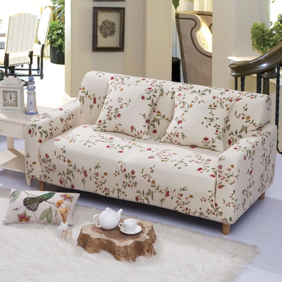 23 47USD Universal Corner Shaped Sofa Cover Small Flowers Brief Style Soft  Stretch Sofa Cover
