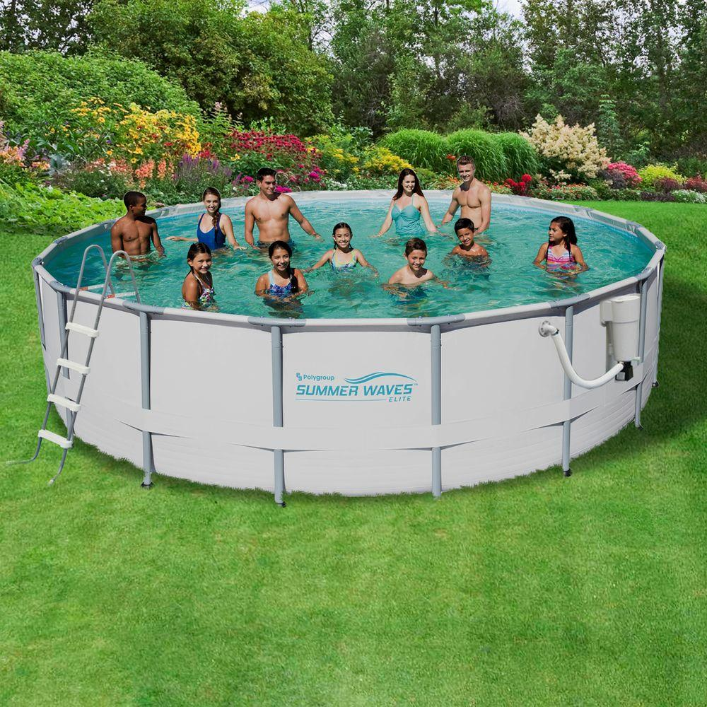 Summer Waves Elite 18 ft. Round 52 in. Deep Metal Frame Swimming ...