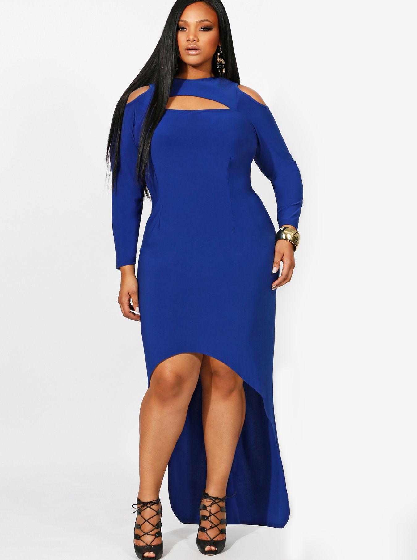 """Dana"" Exposed Shoulder High/Low Dress"