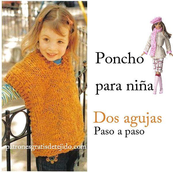 1bc7f35799f0c Poncho para niña para tejer en una tarde   Paso a paso