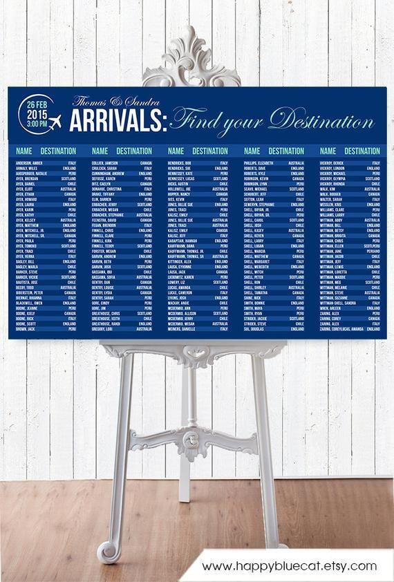 Mariage Seating Chart – SERVICE RUSH – arrivée de laéroport voyage thème mariage sièges graphique réception affiche – fichier imprimable HC129