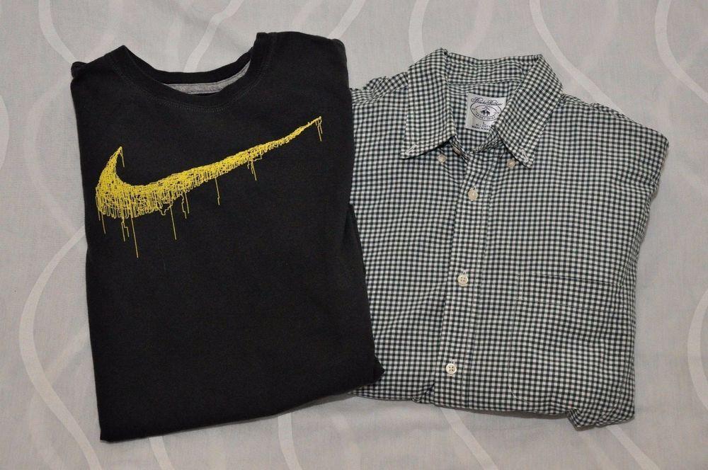 Nike & Brooks Brothers School Boys Shirts (Lot of 2) Size L Youth Blue Black EUC #Nike #Everyday