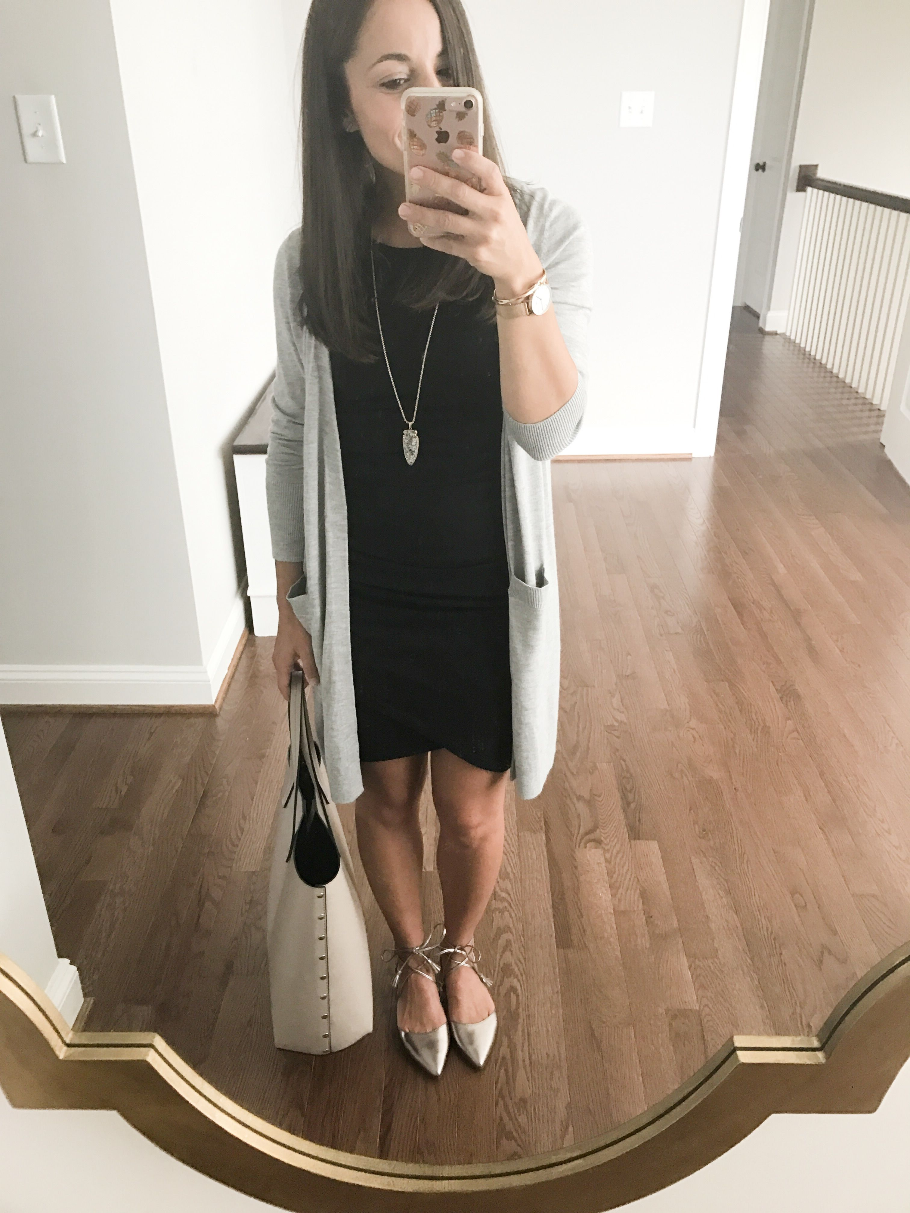 Fall Outfit Idea Black Dress With A Long Cardigan And Flats Nordstrom Oliver Ankle Wrap Flats Halo Stylish Work Outfits Business Outfits Women Work Outfit [ 4032 x 3024 Pixel ]