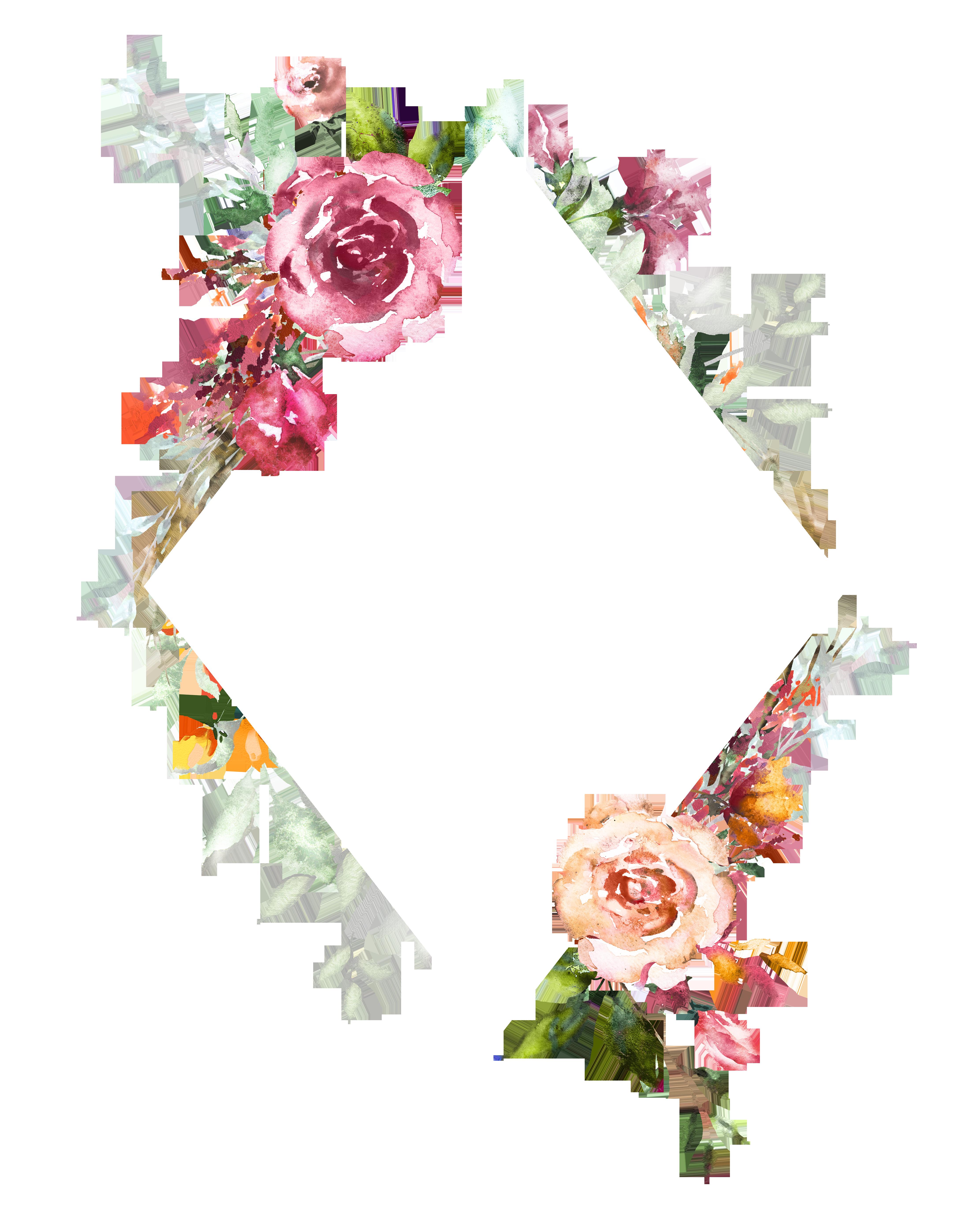H804 25 Floral Art Flower Frame Watercolor Design
