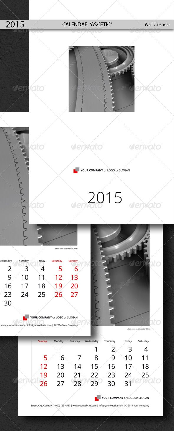 Calendar Template Ascetic 2015 2014 Pinterest Template Print