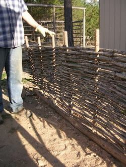 An inexpensive option for fencing, garden walls, screens, or even raised bed planters because most of the material is repurposed from trimmings.