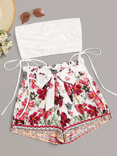 Tube Top with Self Tie Floral Shorts #tubetopoutfits