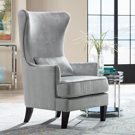 Merveilleux Luxuriate In The Comfort And Subtle Wingback Styling Of This Silver  Alligator Print Armchair With Complementary Chrome Nailhead Trim For Extra  Shine.