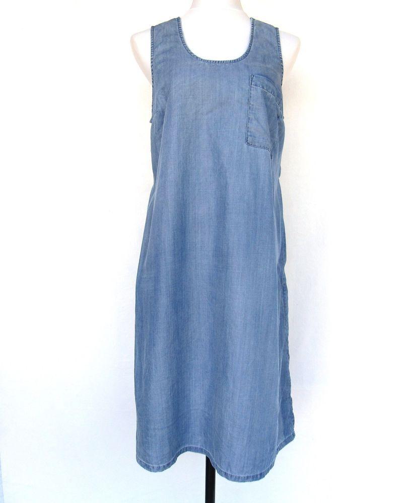 Gap maternity blue rayon chambray dress womans large
