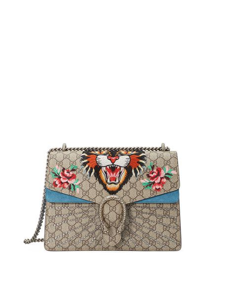 c12973a1ea1f GUCCI Dionysus Angry Tiger Bag, Multi, Neutral Pattern. #gucci #bags # shoulder bags #crystal #canvas #suede #