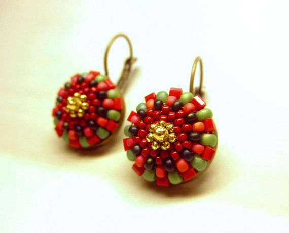 Red and Green LOLLIPOP   Seed Beads Tiny Antique by dharajewelry, $20.00