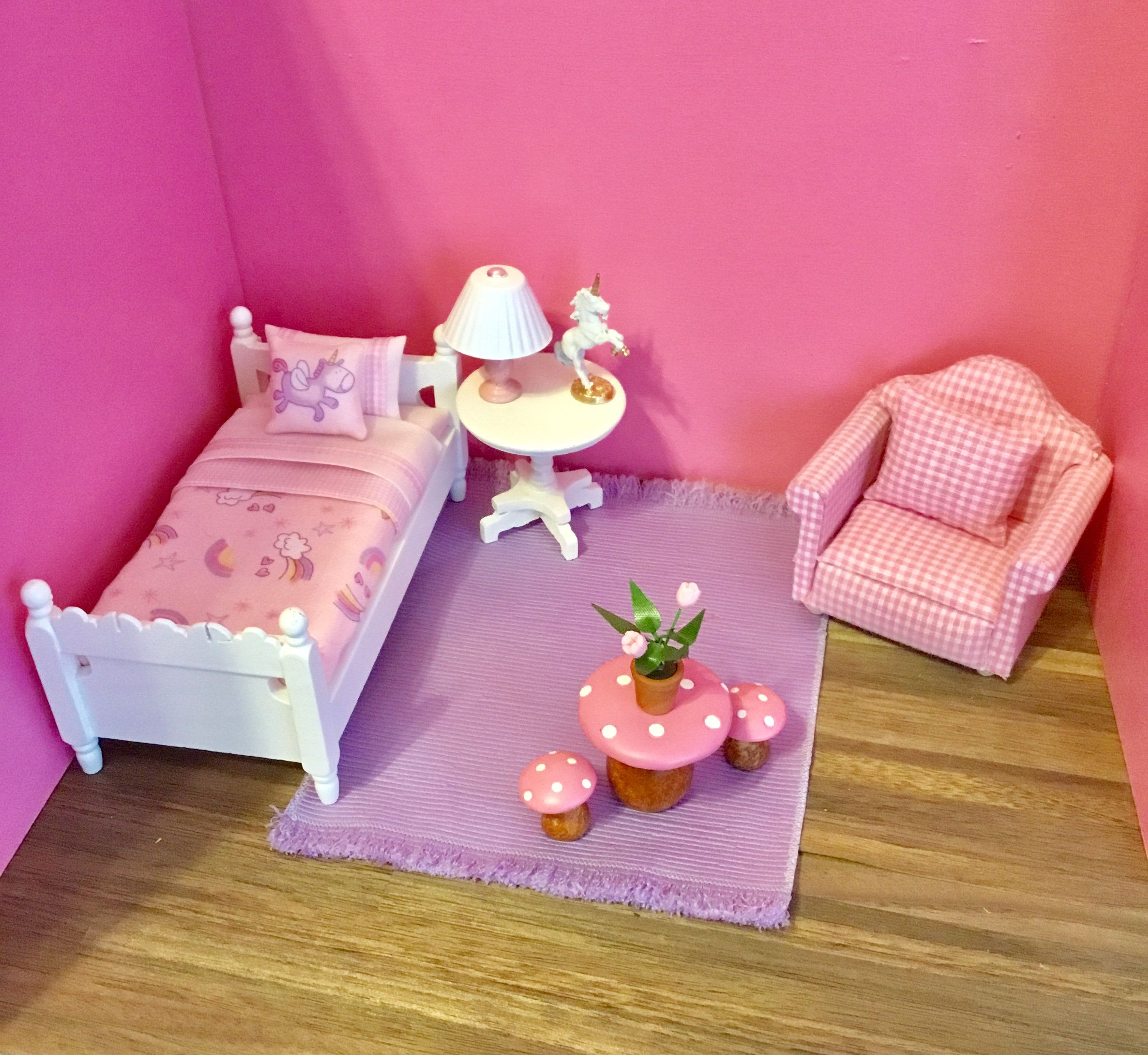 Dollhouse miniature unicorn bedroom pink checked chair