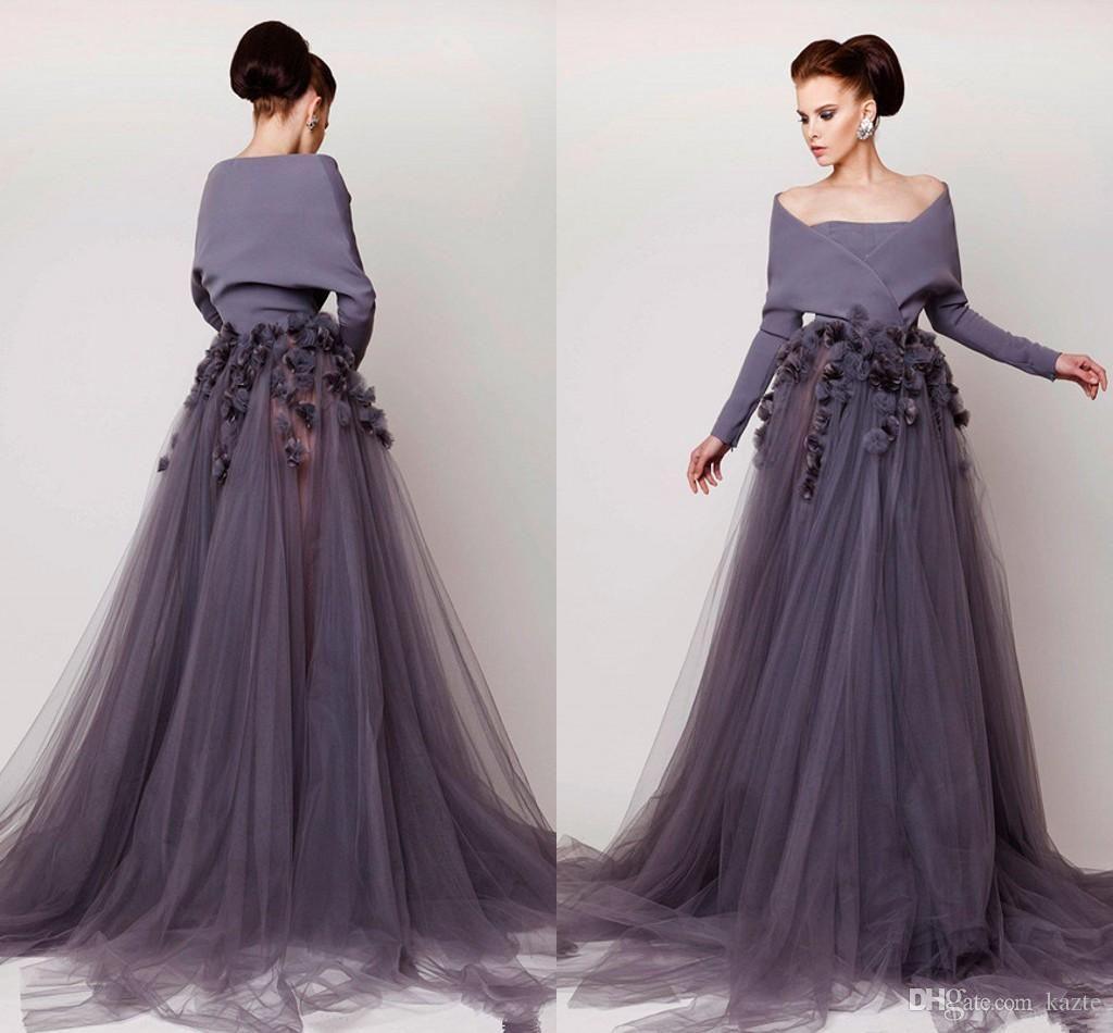 Azzi & Osta Off Shoulder Long Sleeve Prom Dresses2018 Modest ...