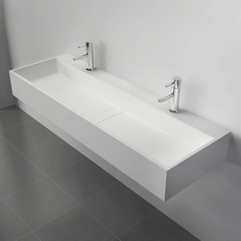47 Inch Wall Mount Double Sink Stone Resin Matte Glossy White