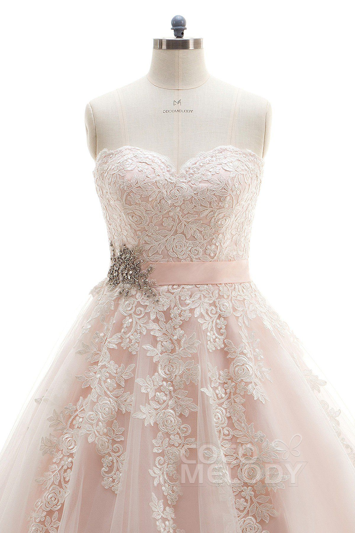 Champagne and ivory wedding dress  Charming ALine Sweetheart Natural Court Train Tulle and Lace Ivory