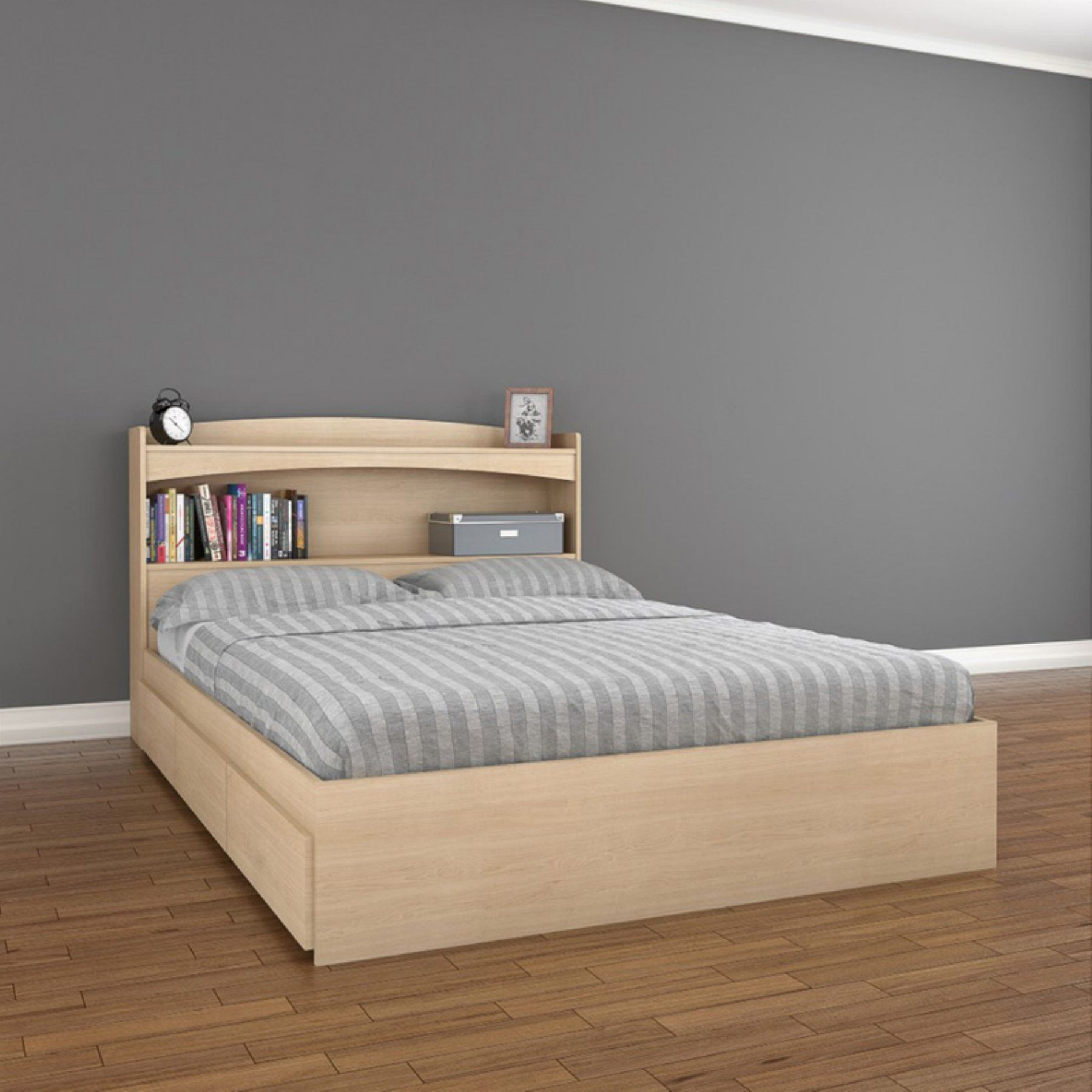 Nexera Alegria 3 Drawer Storage Platform Bed  Maple