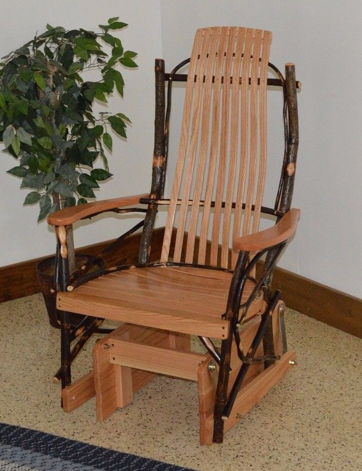 Fantastic Rustic Hickory And Oak Porch Glider Rocker Natural Stain Andrewgaddart Wooden Chair Designs For Living Room Andrewgaddartcom