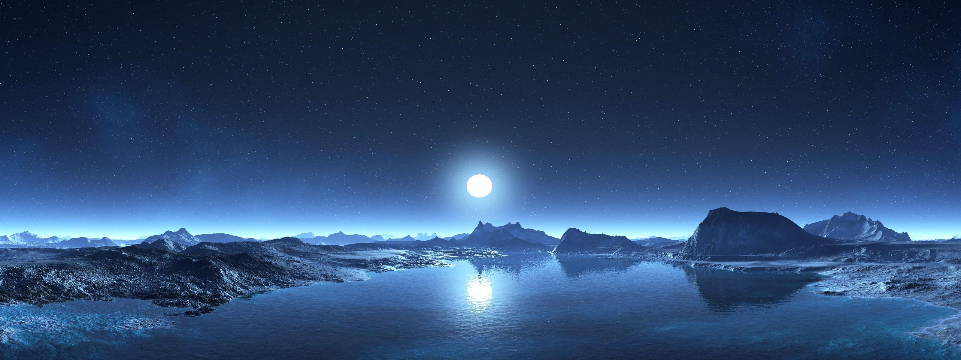 Night Moon Lake Hills Mountain Sci Fi Stars Sky Digital Art Fantasy 6724 Jpg 3200 1200 Background Images Dual Monitor Wallpaper Sky Digital
