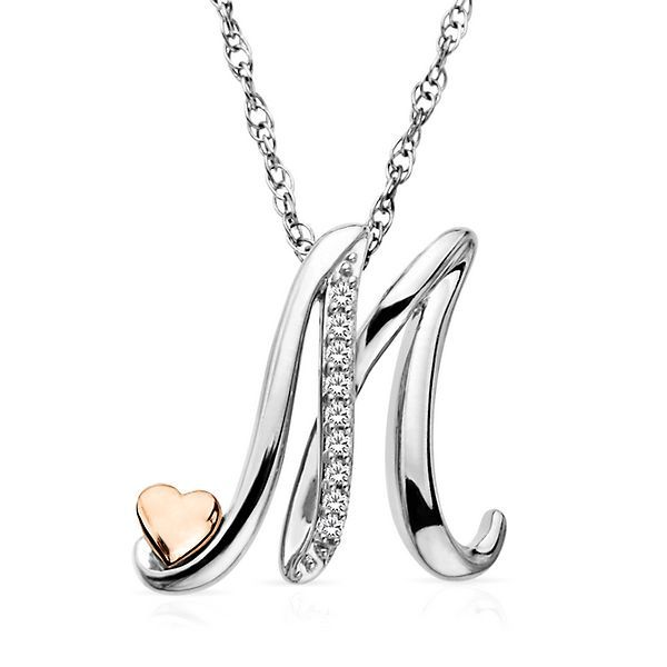 Diamond M Initial Necklace In 2021 M Initial Necklace Gold Initial Pendant Gold Letter Pendants
