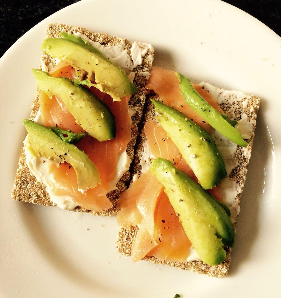 Salmon and avocado ryvita #protein #healthy