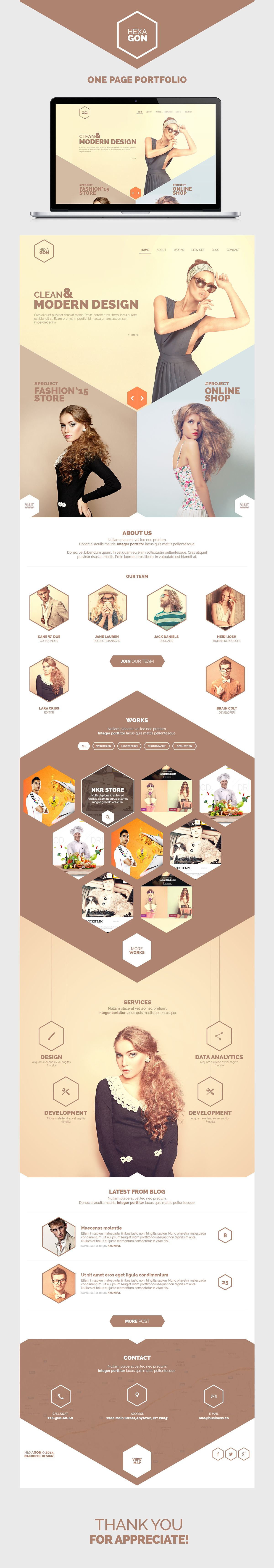 Hexagon - One Page Portfolio (Free PSD) on Behance