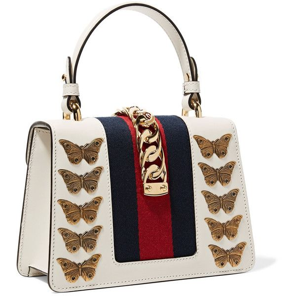 Sylvie Mini Embellished Chain-trimmed Leather And Canvas Shoulder Bag - White Gucci HsHCz8