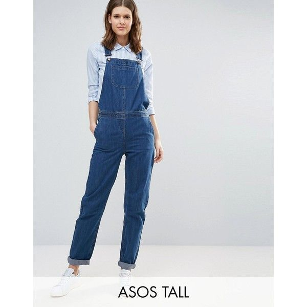 cbf2e94b ASOS TALL Denim Dungaree in Stonewash Blue (£42) ❤ liked on Polyvore  featuring jumpsuits, blue, tall jumpsuit, asos, blue jumpsuit, denim  dungaree and asos ...