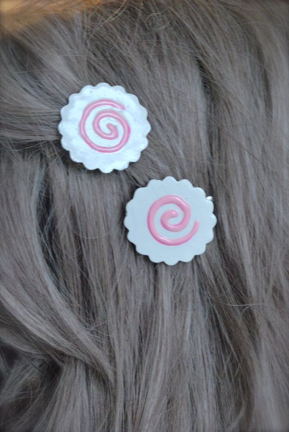 Cute Pair Of Narutomaki Hair Clips Kawaii Accessories Kawaii Hair Clips Anime Jewelry