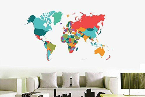 Price error color world map wall sticker living room bedroom color world map wall sticker living room bedroom home decor pvc wall sticker import large size self adhesive mural naklejki gumiabroncs Choice Image