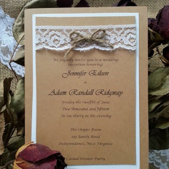 Jennifer Burlap and Lace Wedding Invitations 5x7 Kraft cardstock